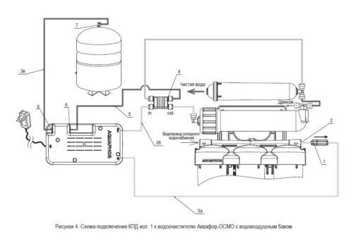 Схема подключения комплекта повышающего давление Аквафор